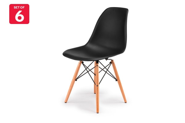 Ovela Set of 6 Eiffel DSW Dining Chairs - Eames Replica (Black)