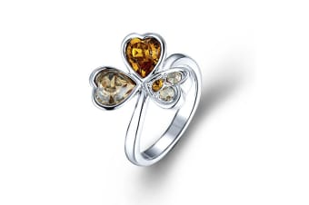 Clover Lover Topaz Ring Embellished with Swarovski crystals  Size US 7
