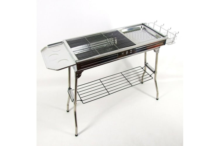 Portable Stainless Steel BBQ Charcoal Wood