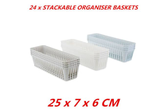 24 x Plastic Stack-able Organiser Baskets Tray Home Office Kitchen Tidy 25x7x6cm