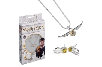 Harry Potter Silver Plated Golden Snitch Necklace And Earring Set (Silver/Gold) (One Size)