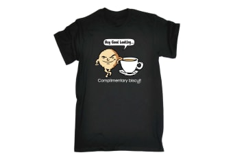 123T Funny Tee - Complimentary Biscuit - (Medium Black Mens T Shirt)