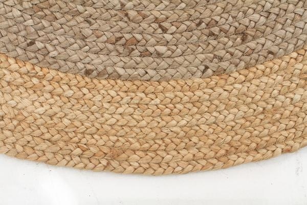 Round Jute Natural Rug Silver 120x120cm