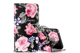For Samsung Galaxy S9 Wallet Case Leather Peony Flower Pattern