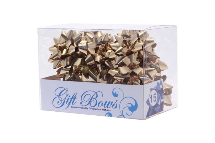 Apac Metallic Galaxy Gift Bows - 15 Pack (Gold) (One Size)