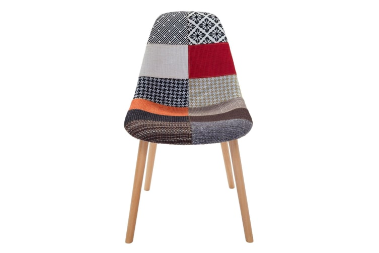 Replica Eames DSW Hal Inspired Chair | Multicoloured Patches Fabric Seat | Natural Beech Legs