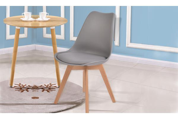 4 x Retro Replica Eames PU Leather Padded Seat Chair GREY