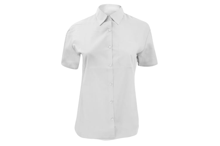 Russell Collection Ladies/Womens Short Sleeve Poly-Cotton Easy Care Poplin Shirt (White) (XS)
