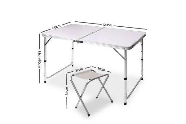 Portable Folding Camping Table and Chair Set (120cm)
