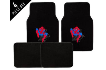 4 Piece Spider Man Car Floor Mat Set