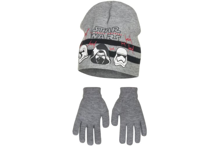 Star Wars The Force Awakens Childrens Boys Helmets Hat And Gloves Set (Grey) (54cm)