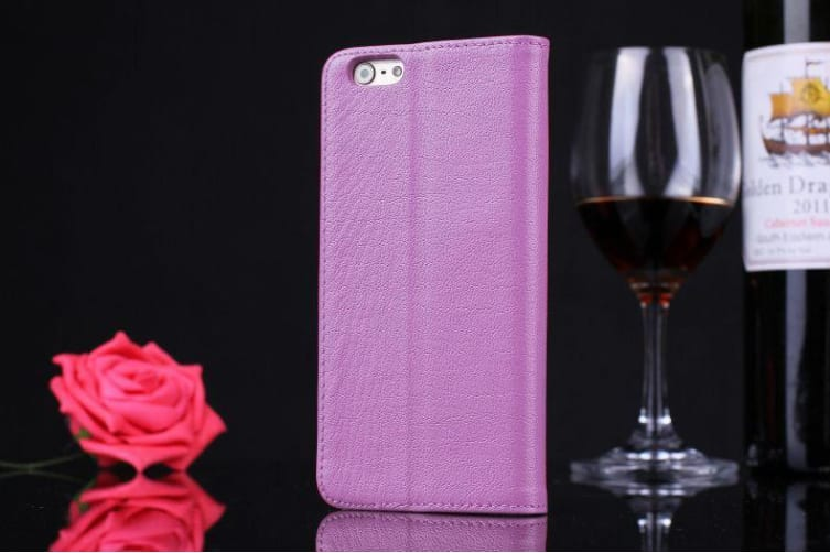 For iPhone 6S 6 Case Fashion Cowhide Genuine Leather Cover Caller Display Pink