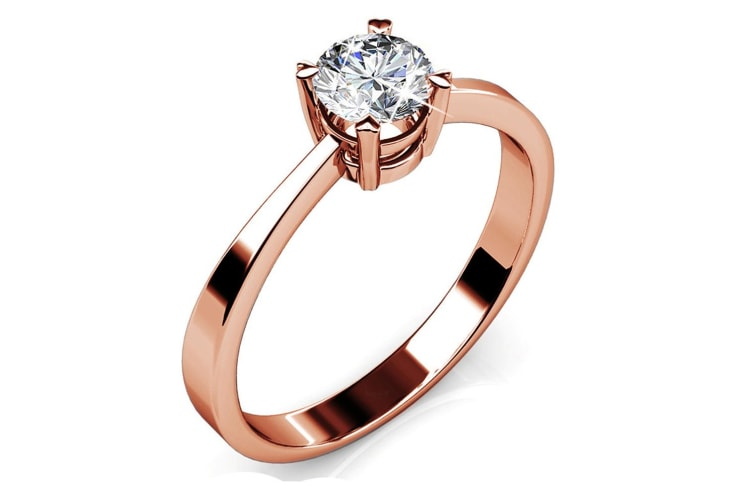 Solitaire Ring Embellished with Swarovski crystals  Size US 8