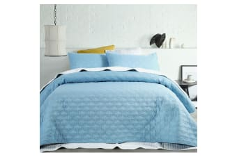 OPACO Embossed Quilted Coverlet Set Queen/King Blue by Accessorize