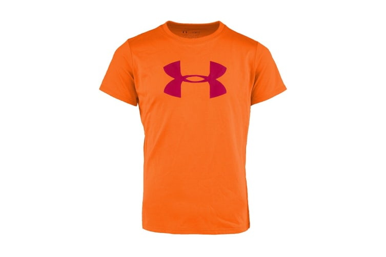 Under Armour Girls' Graphic Big Logo T-Shirt (Orange/Purple, Size M)