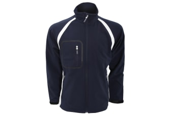 Finden & Hales Mens Team 3-Layer Softshell Sports Jacket (Navy/White) (S)