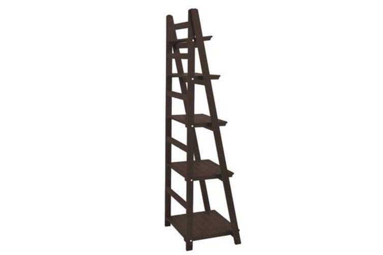 5 Tier Wooden Ladder Shelf Stand Storage Book Shelves - Brown