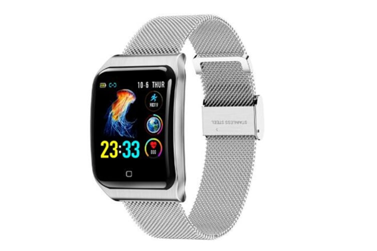 WJS 1.3inch Color Screen Blood Pressure Heart Rate Monitor Sport bluetooth Smart Wristband Watch-SILVER