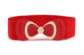 Vintage Waist Butterfly Belt Retro Wide Elastic Cinch Belt For Women Red