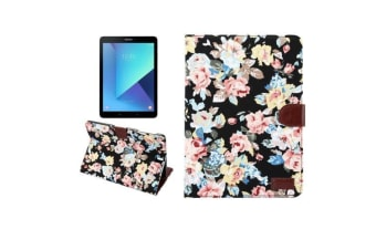 For Samsung Galaxy Tab S3 SM-T810 815 Wallet Case Flower Patterned Cover Black