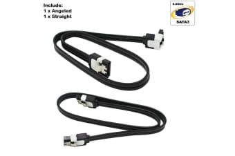 Asus 2x SATA III 3.0 Data Cable 6Gbps for HDD SSD with Angle & Lead Clip sata3 -