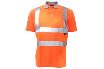 Warrior Mens Daytona Hi-Vis Short Sleeve Polo Shirt (Fluorescent Orange)