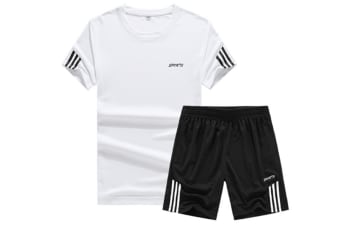 Men'S Casual Tracksuit T-Shirts And Shorts Running Jogging Sportsuit Set White Xl