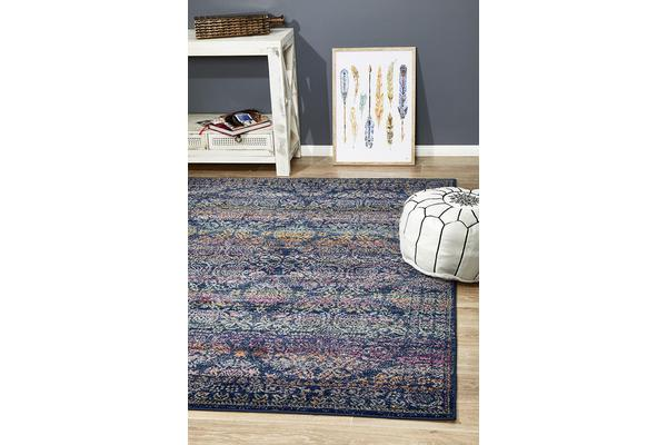 Hazel Navy & Multi Durable Vintage Look Rug 290x200cm