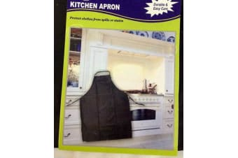 3 Kitchen Apron Vinyl Washable Black Cooking Chef Cafe with Front Pocket