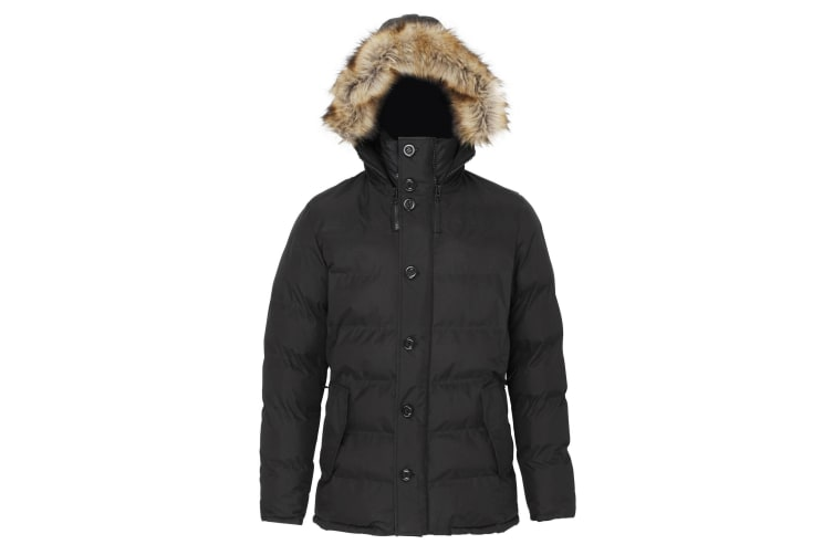 2786 Mens Expedition Padded Parka Jacket With Faux Fur Trim (Black) (L)