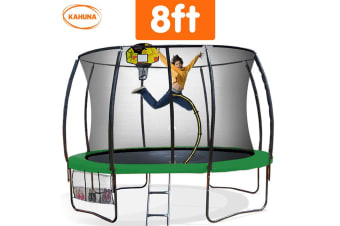 Trampoline 8 ft Kahuna with Basketball set Outdoor Round - Green