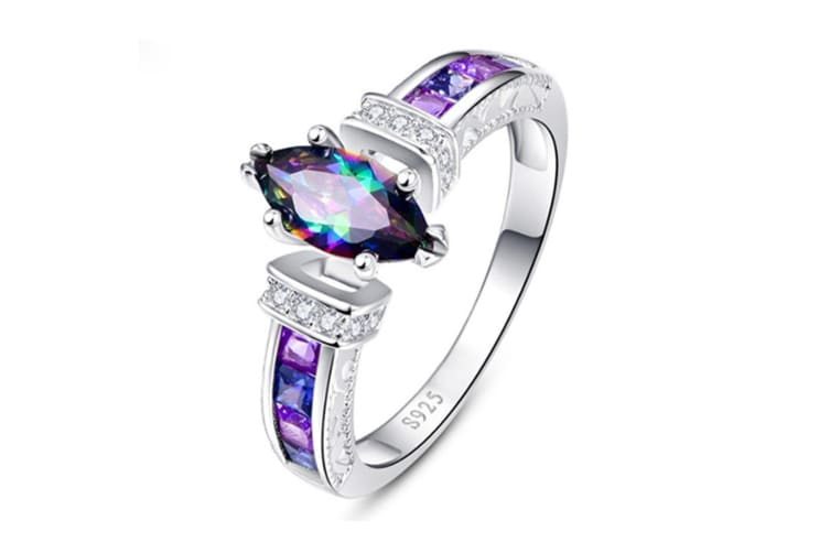 925 Sterling Silver Created Mystic Rainbow Topaz Ring for Women 9