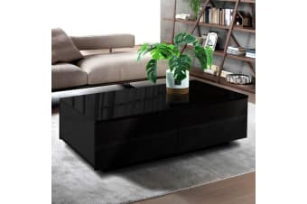 Artiss Modern Coffee Table 4 Storage Drawers High Gloss Wooden Furniture Black