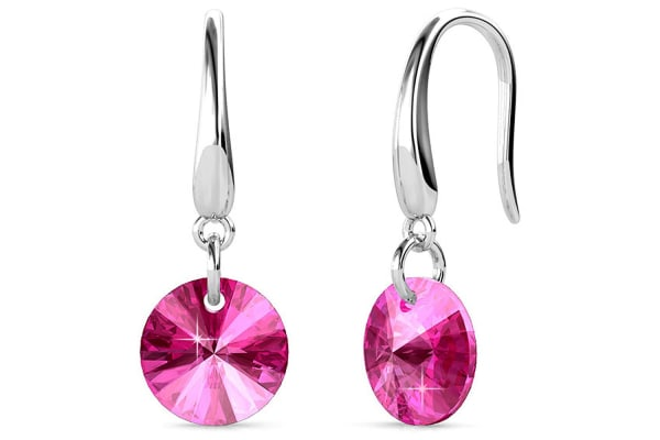 Timeless Crystal Drop Earrings Pink w/Swarovski Crystals-White Gold/Pink