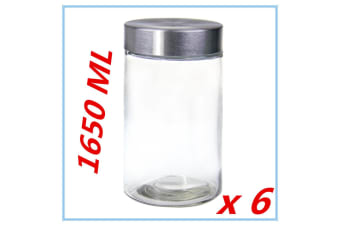 6 x Round Screw Top Large 1650ml Storage Preserving Kitchen Glass Jars COFFEE FW
