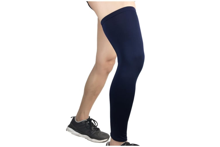 Compression Knee Calf Sleeves Leg Guard Support Antislip Navy Blue L