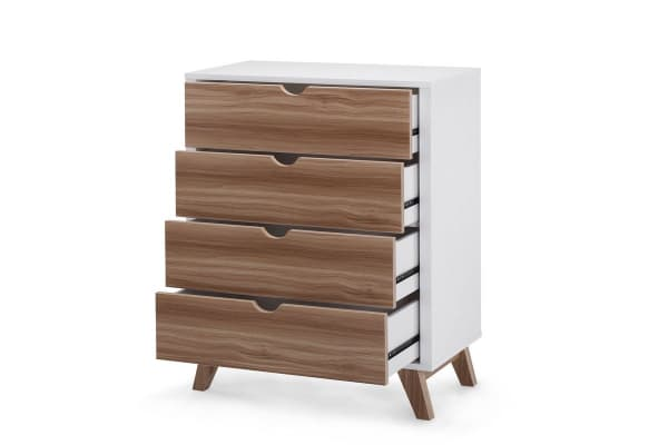 Ovela Chest of 4 Drawers - Finse Collection (White & Dark Birch)