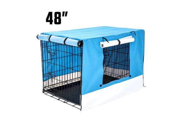 Foldable Metal Wire Dog Cage w/ Cover - BLUE 48""