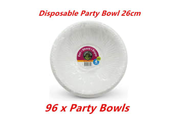 96 x Party Salad Bowl White Plastic Food Catering Round Disposable BPA Free Soup
