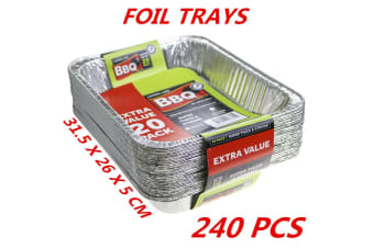240 x Aluminum Foil Trays BBQ Disposable Roasting Takeaway Oven Baking Party Container