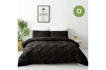 Double Size Diamond Embroidery Pintuck Quilt/Duvet Cover Set-Black