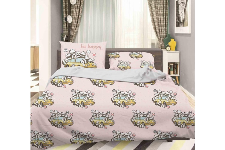 3D Cartoon Car Animal Pink Quilt Cover Set Bedding Set Pillowcases 110-Double