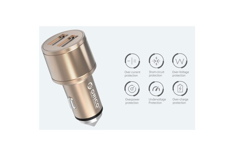 Orico UCI-2U Gold 15.5W Safety Hammer 2 USB Port Car Charger for iPhone/Samsung