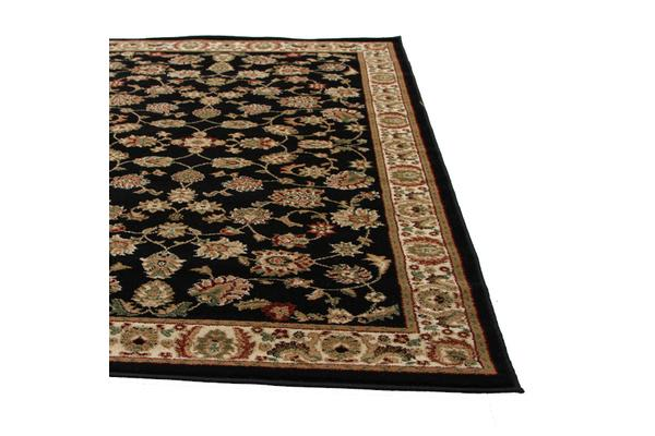 Traditional Floral Pattern Rug Black 230x160cm