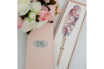 Engagement Feather Pen Personalised Gift Box Purple Floral