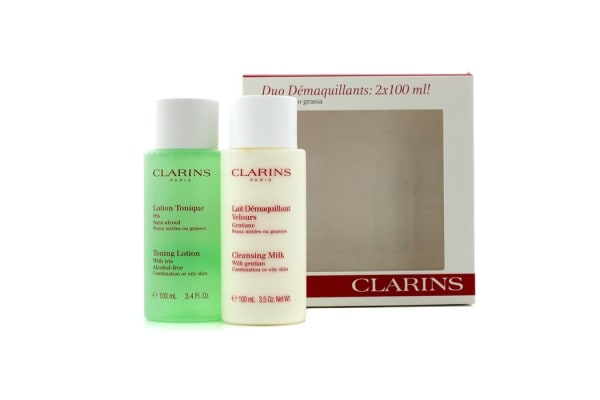 Clarins Cleansing Duo (Combination/ Oily Skin): Cleansing Milk 100ml + Toning Lotion 100ml (2x100ml/3.4oz)