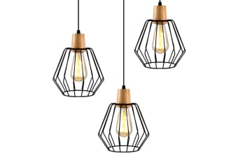 Artiss 3x Wood Pendant Light Modern Ceiling Lighting Industrial Wire Lamp Bar