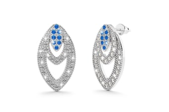 Rana Bloom Earrings Clear and Blue