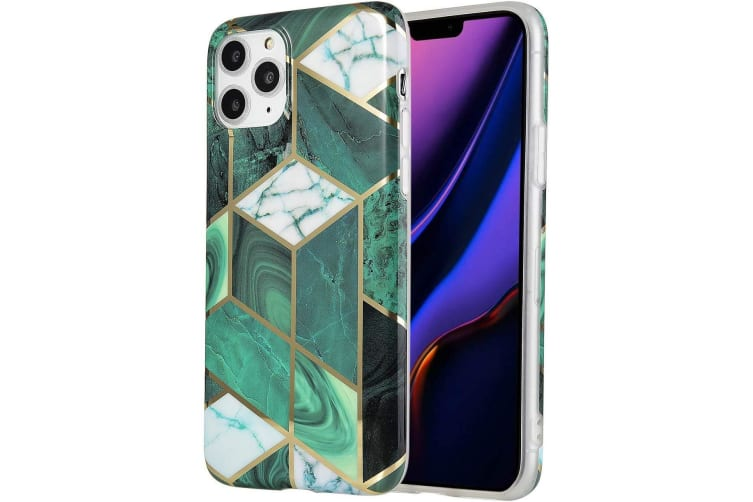 Marble Pattern Soft TPU Case Elegant Stylish Shockproof Silicone Cover for iPhone 7/8 Plus-Green
