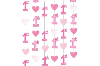 Amscan 1st Birthday String Decoration (Pink) (One Size)